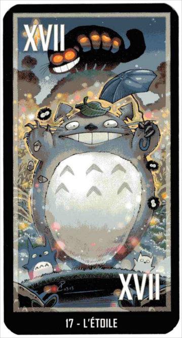 Arcane majeure du taropolis avec Totoro (reprise du tarot de Marseille avec des images geeks)