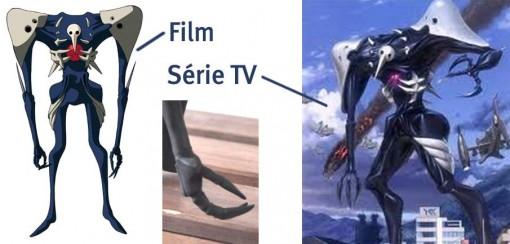La main de Sachiel correspond au film et non à la série TV