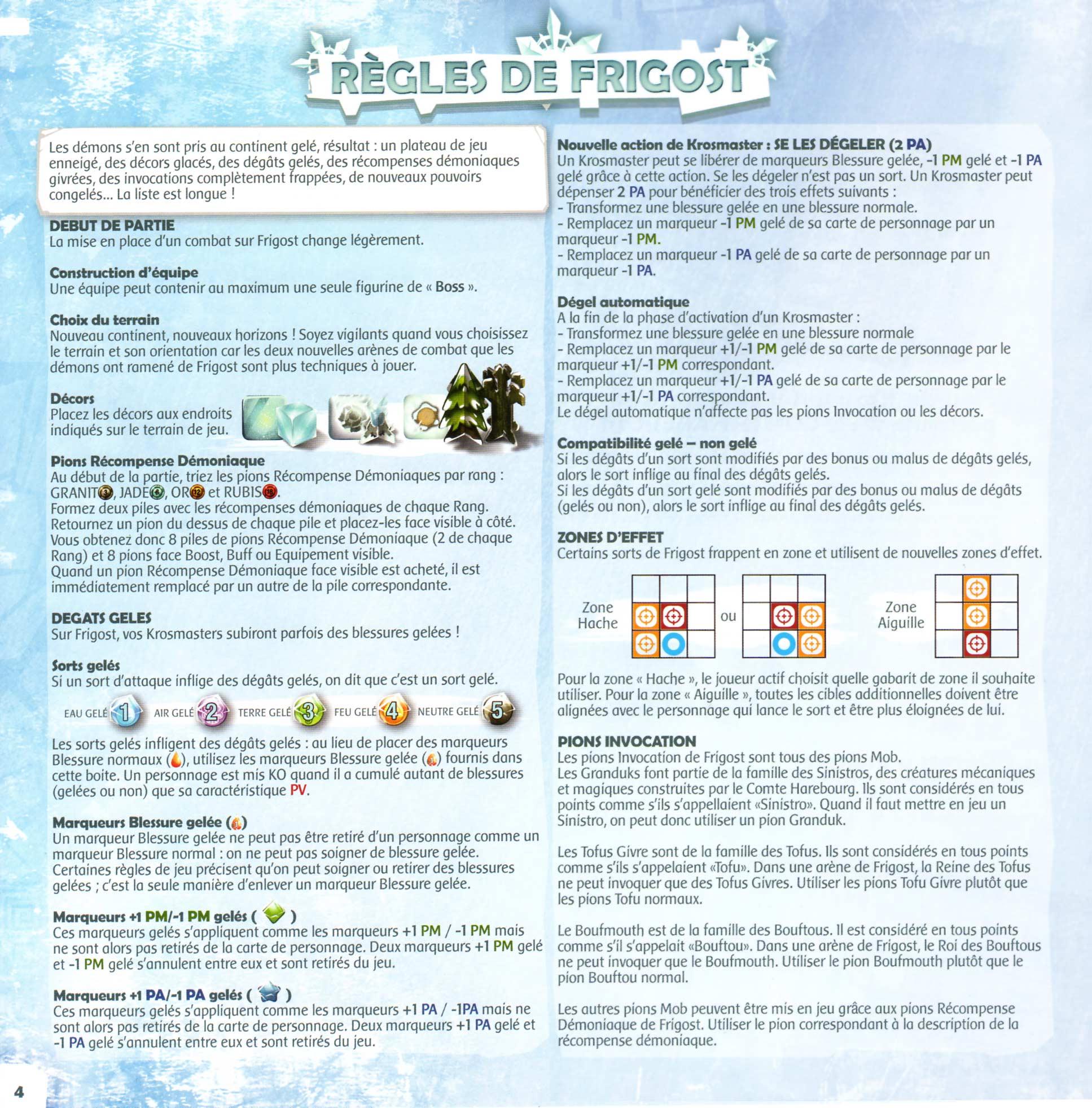Page 4 du livret des règles de Krosmaster Arena - Frigost (Add-On)