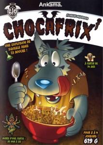 Couverture du jeu de société Chocafrix' référence à Chocapic et à Freaks Squeele