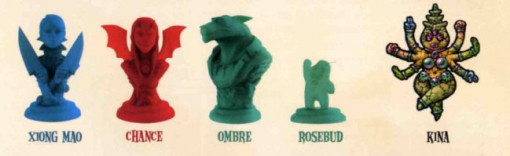 Figurines avec Xiong Mao, Chance, Loup et Rosebud