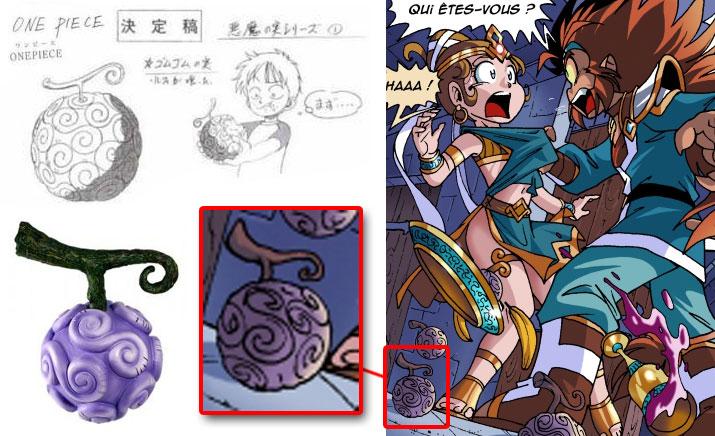 On peut voir le fruit du démon Gomu Gomu tiré de One Piece