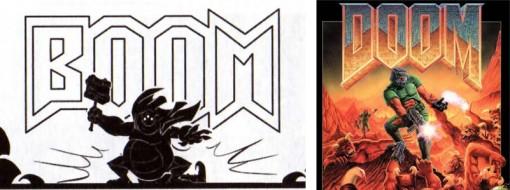 La calligraphie de l'onomatopée Boom fait référence au titre du jeu Doom.