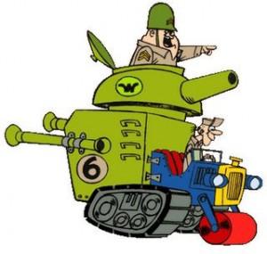 Sergent Grasspompe et Soldat Petit Pois dans les Fous du volant