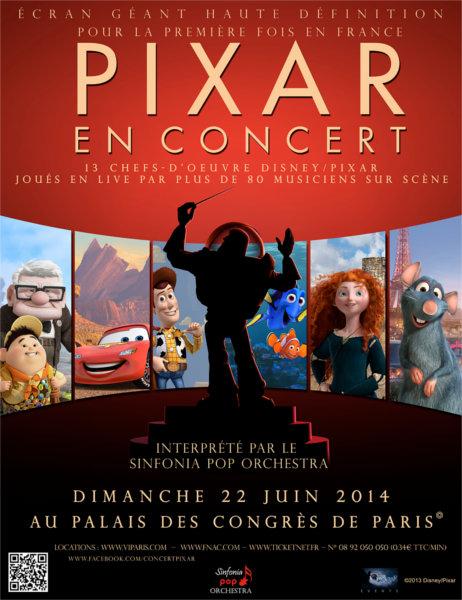 Affiche du Concert des musiques de film Pixar en Juin 2014