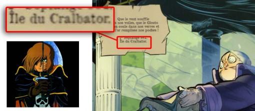 """L'île du Cralbator où est situé l'imprimeur est probablement la contraction des mots  """"crâne"""" et Albator"""