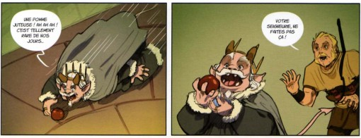 Le roi se jette sur une pomme tombée par terre