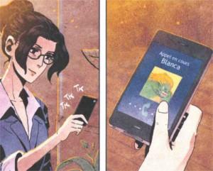Ainhoa téléphone à sa soeur dans son téléphone. Au lieu d'utiliser son vrai prénom, Masiko, elle a saisi Blanca