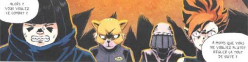 Une partie du groupe anti Masiko qui voit de voir leur ennemi apparaître devant eux