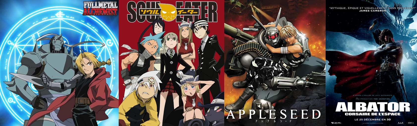 Fullmetal Alchemist, Soul Eater, Appleseed, Albator
