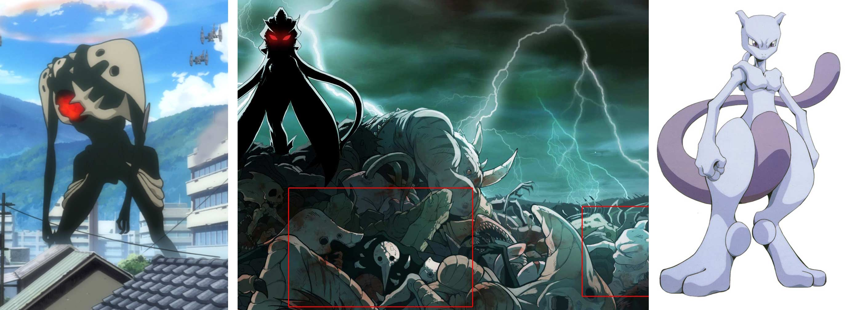 on peut voir le premier ange d'Evangelion et Mew Two de Pokemon.