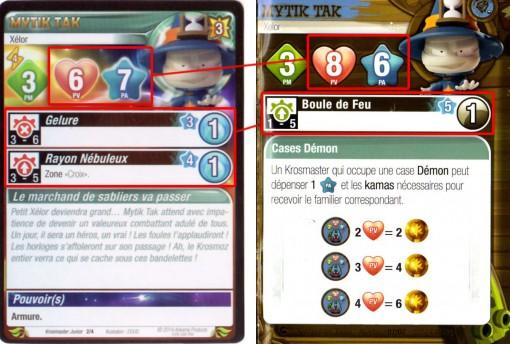 Krosmaster Junior comparaison entre la carte et le carnet d'aventures