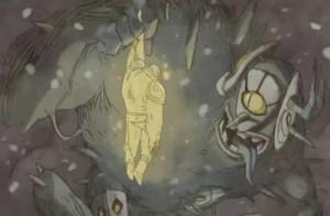 Le dieu Iop est vaincu par Cornu Mollu