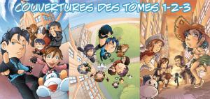 Image de couverture des 3 premiers volumes de Sentai School