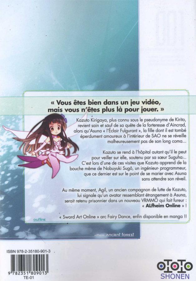 Quatrième de couverture du tome 1 de Sword Art Online - Fairy Dance