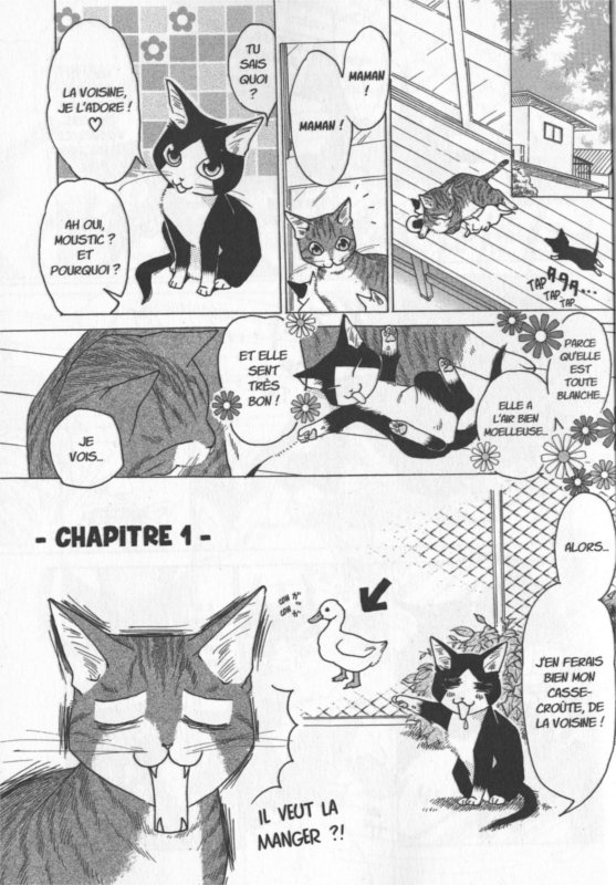 Page 1 du tome 1 du manga Miaou, le quotidien de Moustic