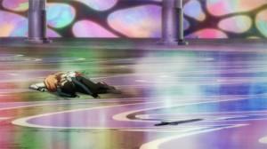 Kirito et Asuna au sol après la première tentative de combat du boss