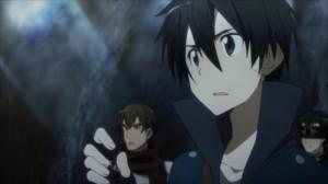 Kirito au conseil de guerre mené par Asuna