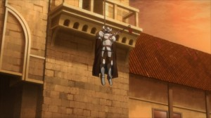 Mort de Caynz pendu à un cloché et embroché par une épée