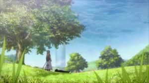 Asuna a rejoint Kirito qui se repose sous un arbre