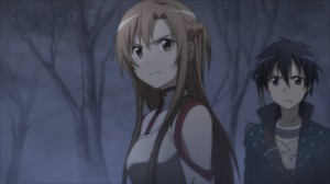 Asuna et Kirito regardent Grimlock qui expliquent qu'il a fait tuer sa femme.