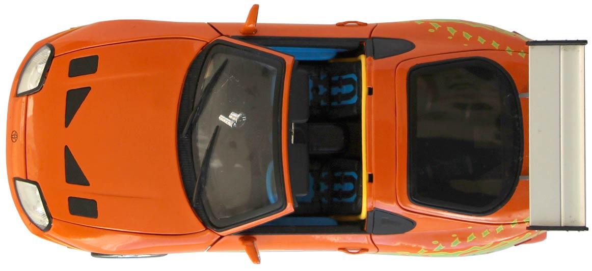 Vue de dessus de la Toyota Supra Fast Furious