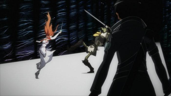 Kirito et Asuna combattent ensembles des monstres de niveau 74