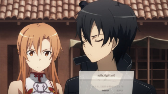 Asuna donne son accord à Kirito d'accepter le duel de Kuradeel
