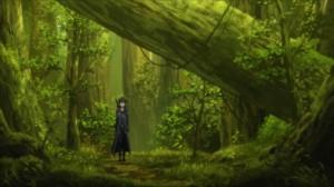 Kirito dans les bois après l'exploration du labyrinthe du niveau 74