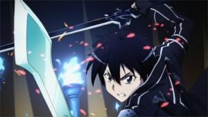 Kirito et ses 2 épées face au boss du niveau 74