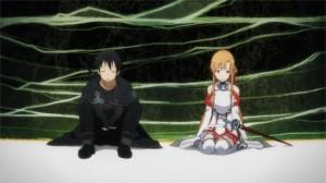 Kirito et Asuna se reposent après avoir fui le boss du niveau 74