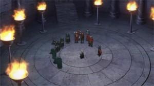 Les survivants du boss du niveau 74 entourent Kirito qui a battu difficilement le boss seul avec sa technique à 2 épées