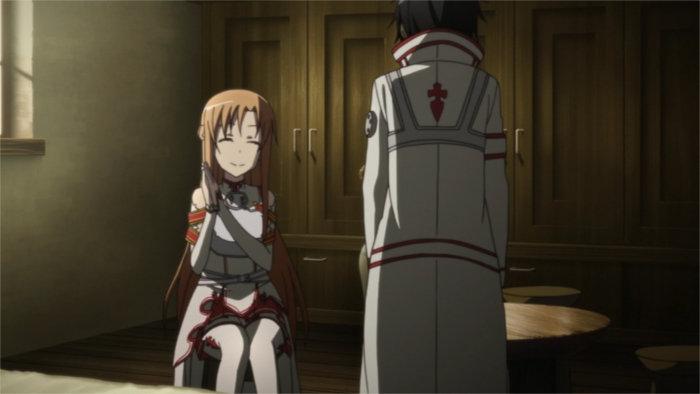 Asuna profite de Kirito dans son nouvel habit