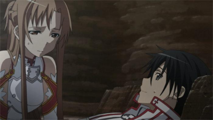Kirito blessé par Kuradeel est soigné par Asuna