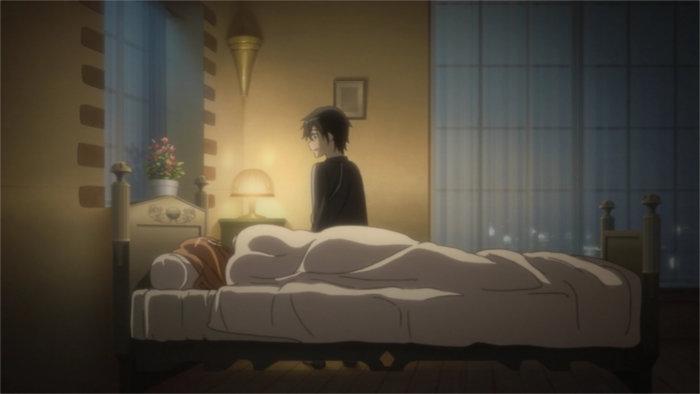 Kirito regarde Asuna endormie