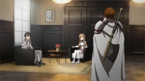 Kirito et Asuna attendent Godfree assis