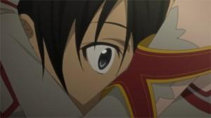 Asuna fait un câlin à Kirito après qu'il lui ait raconté la mort des membres de sa première guilde