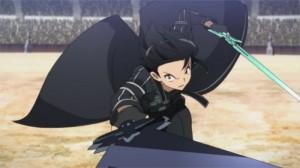 Kirito attaque Heathcliff avec ses 2 épées