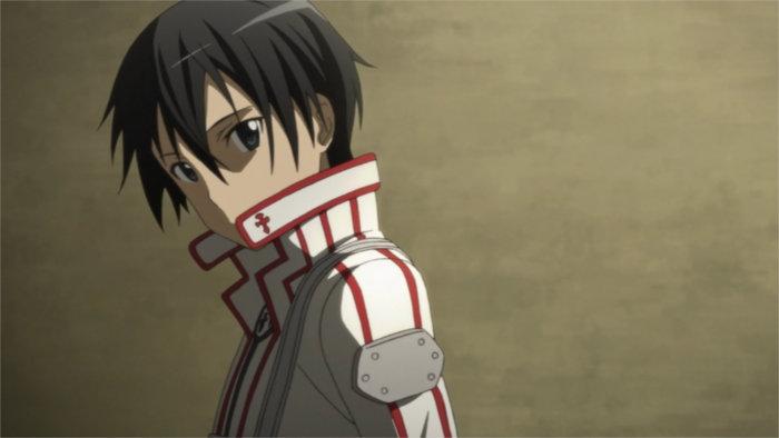 Kirito en tenu de la confrérie des chevaliers après avoir perdu contre Heathcliff
