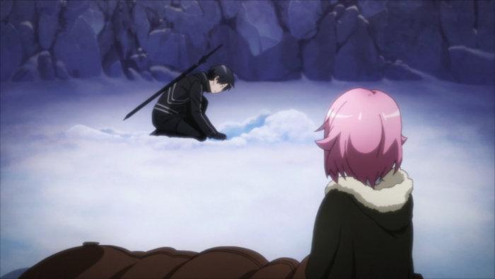 Kirito creuse et trouve un cristal que cherchait Lisbeth
