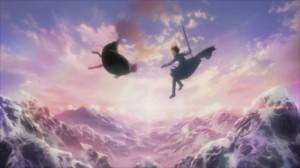 Kirito et Lisbeth chutent après avori été jeté du dos du dragon