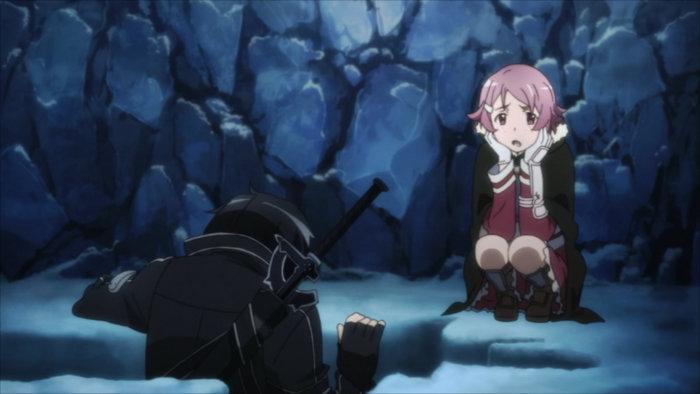 Kirito vient de tomber alors qu'il tentait d'escalader un trou dans lequel Lisbeth et lui sont tombés
