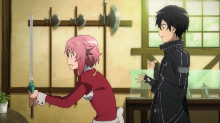 Lisbeth face à l'épée cassée par Kirito pour tester la solidité de l'arme