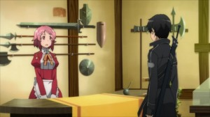 Lisbeth au comptoir de son magasin face à Kirito