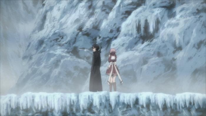 Kirito et Lisbeth dans la montagne