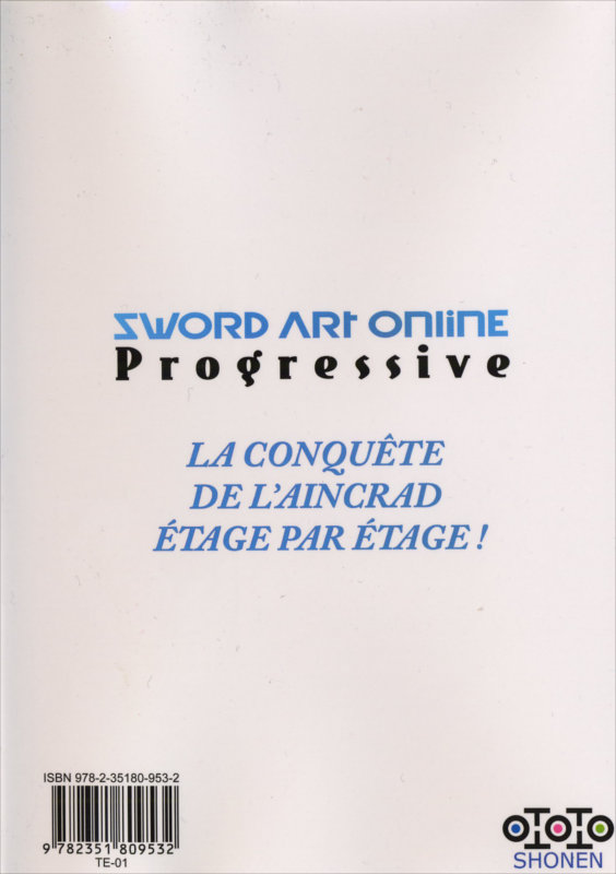 Dos du manga Sword Art Online - Progressive Tome 3