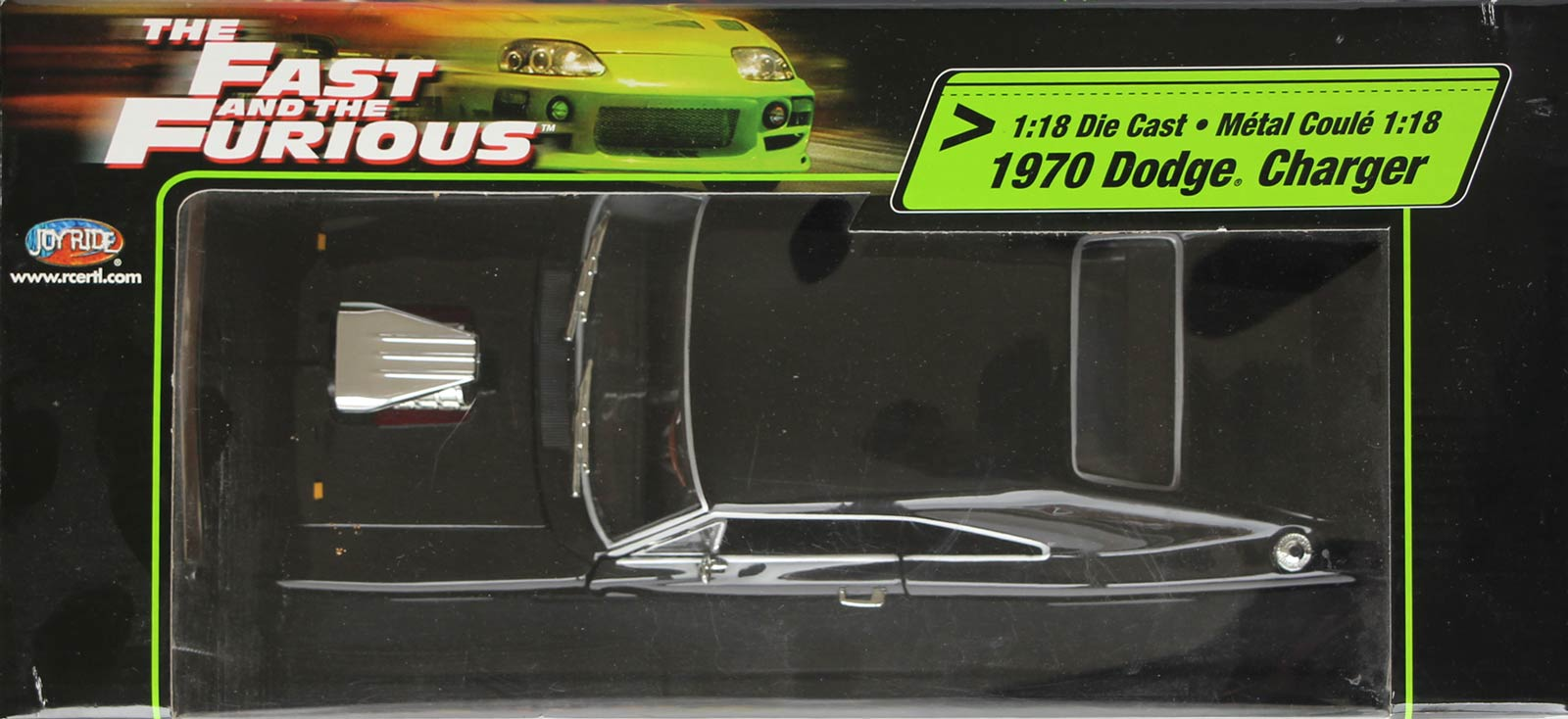 Desssus du packaging de la Dodge Charger Fast Furious 1/18 Joyride