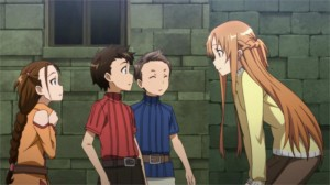 Asuna et les orphelins qu'elle a sauvés de l'Armée