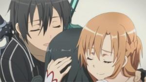 Câlin de famille entre Kirito, Asuna et Yui