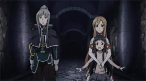 Yulier, Asuna et Yui regardent Kirito se battre dans le donjon sous la ville initiale